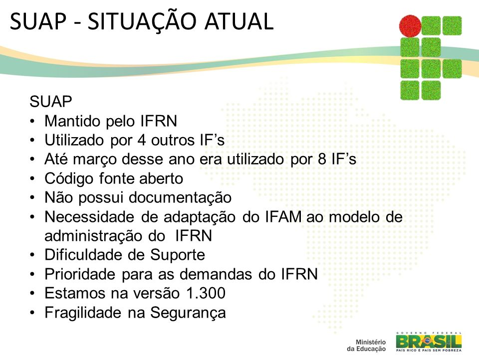 SUAP - SITUAÇÃO ATUAL SUAP Mantido pelo IFRN
