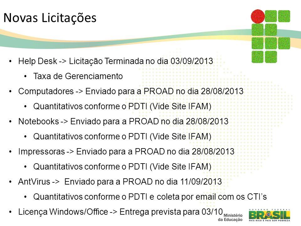 Novas Licitações Help Desk -> Licitação Terminada no dia 03/09/2013