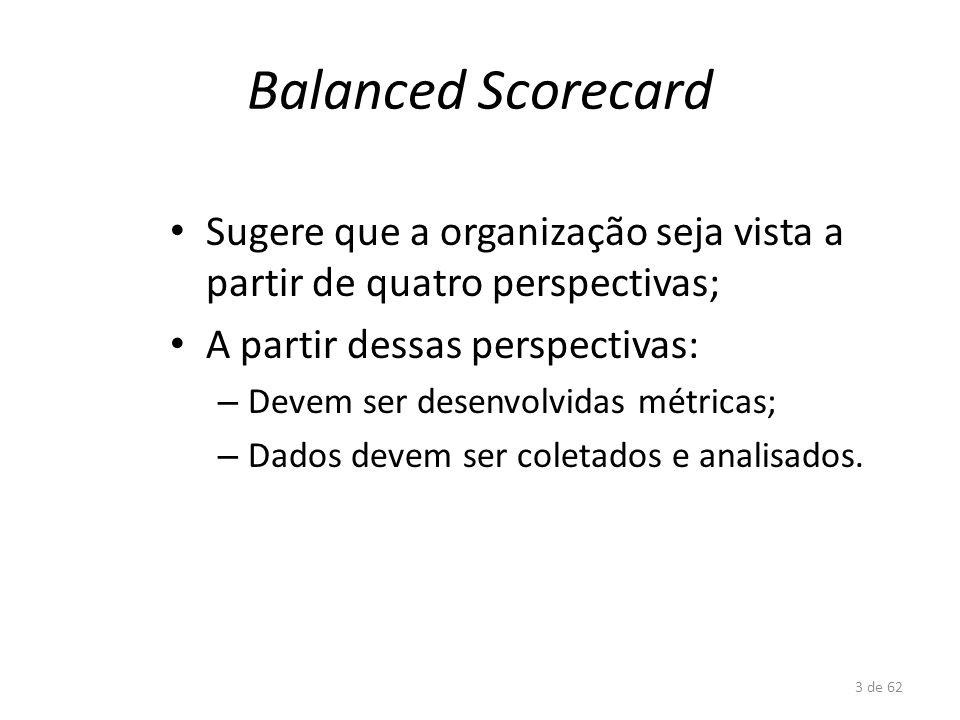 Balanced Scorecard Sugere que a organização seja vista a partir de quatro perspectivas; A partir dessas perspectivas: