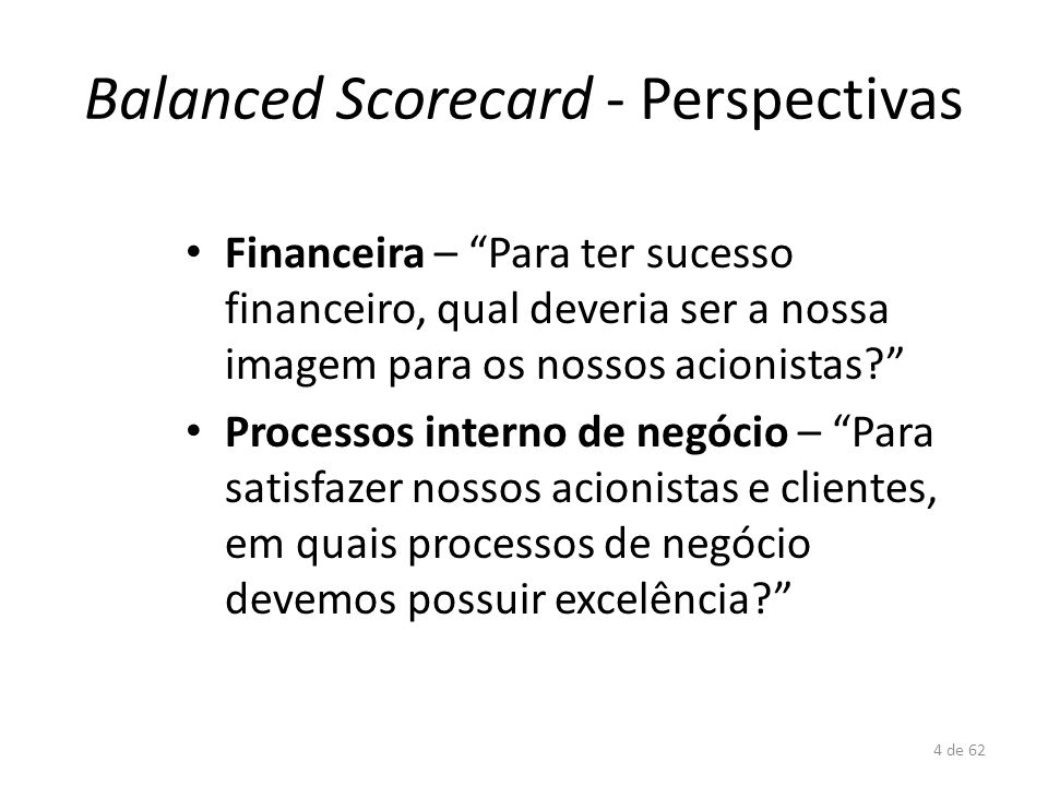 Balanced Scorecard - Perspectivas