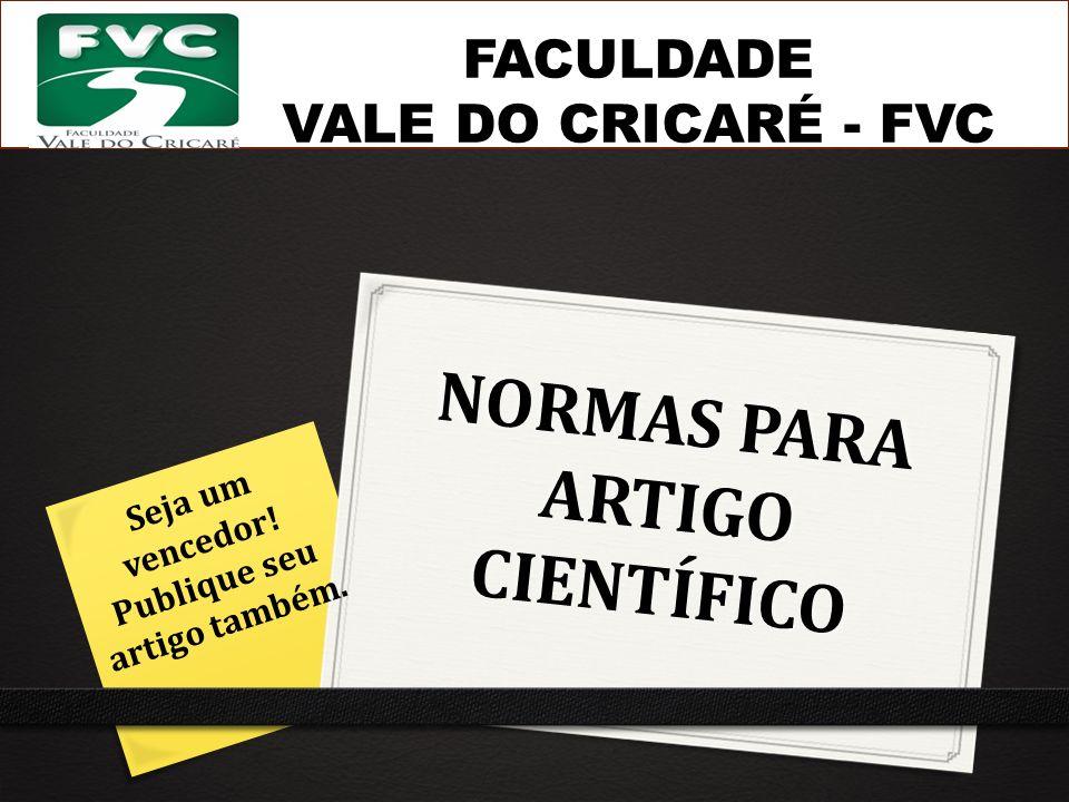 NORMAS PARA ARTIGO CIENTÍFICO