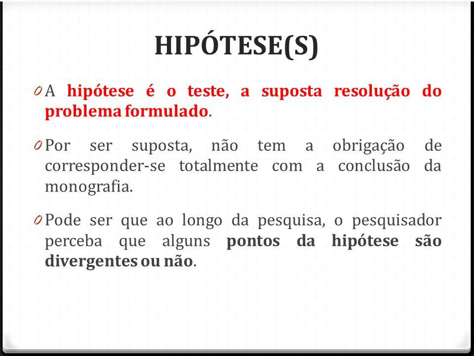 HIPÓTESE(S) A hipótese é o teste, a suposta resolução do problema formulado.