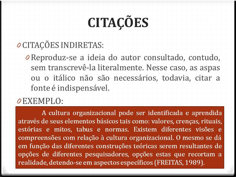 CITAÇÕES CITAÇÕES INDIRETAS: