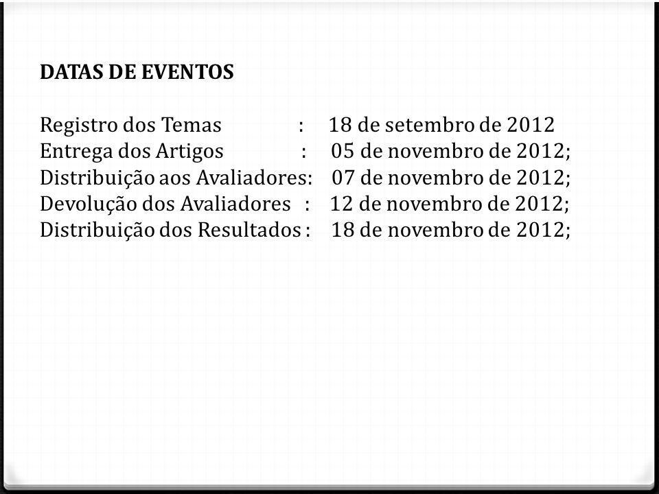 Registro dos Temas : 18 de setembro de 2012