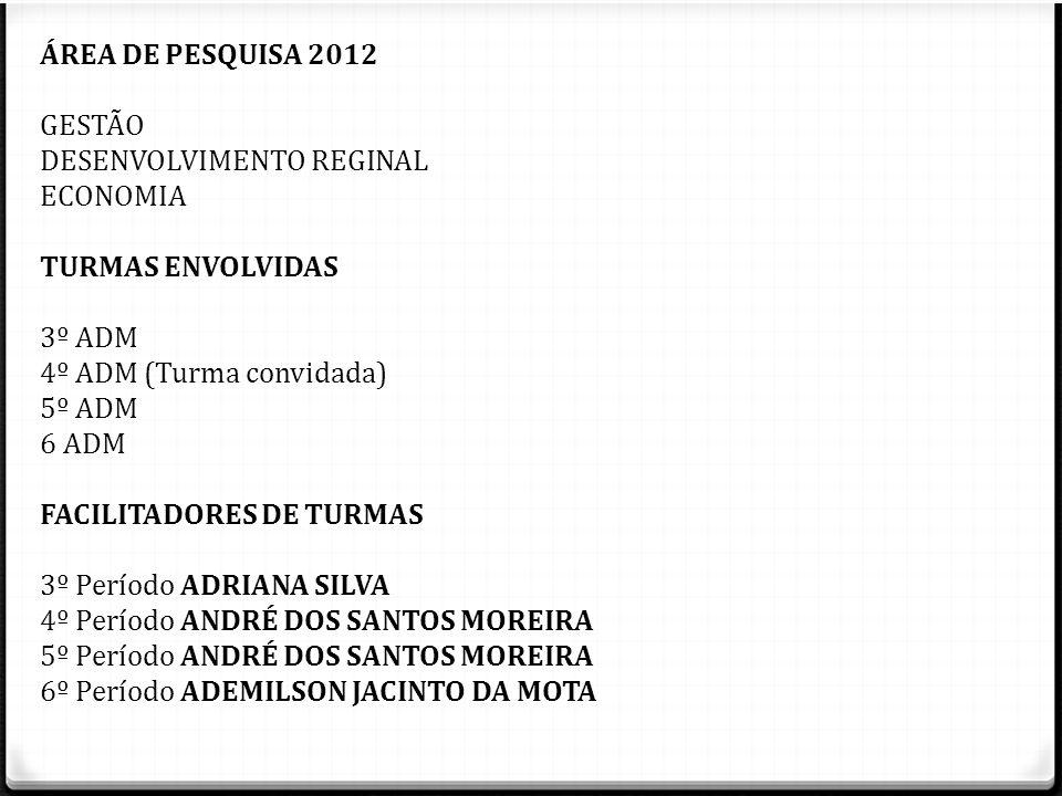 ÁREA DE PESQUISA 2012 GESTÃO. DESENVOLVIMENTO REGINAL. ECONOMIA. TURMAS ENVOLVIDAS. 3º ADM. 4º ADM (Turma convidada)