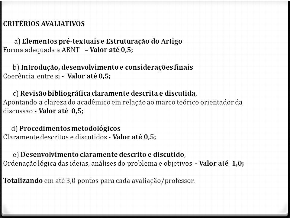CRITÉRIOS AVALIATIVOS