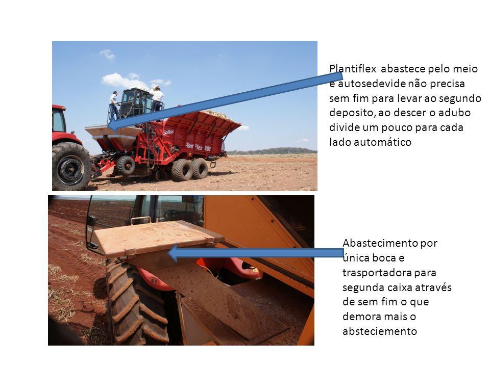 Plantiflex abastece pelo meio e autosedevide não precisa sem fim para levar ao segundo deposito, ao descer o adubo divide um pouco para cada lado automático