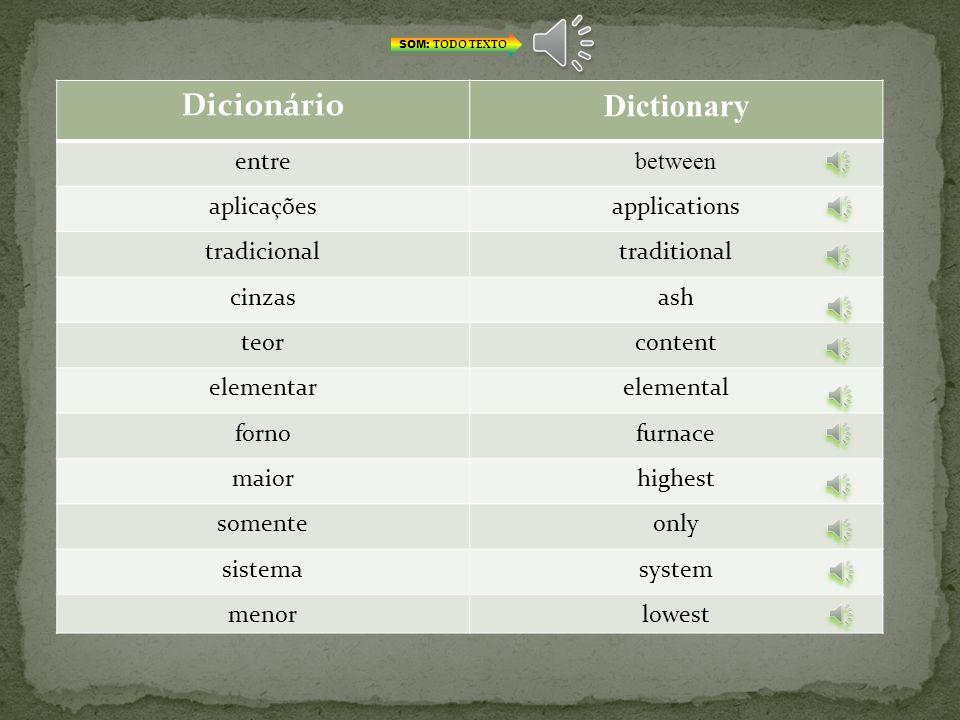 Dicionário Dictionary entre between aplicações applications