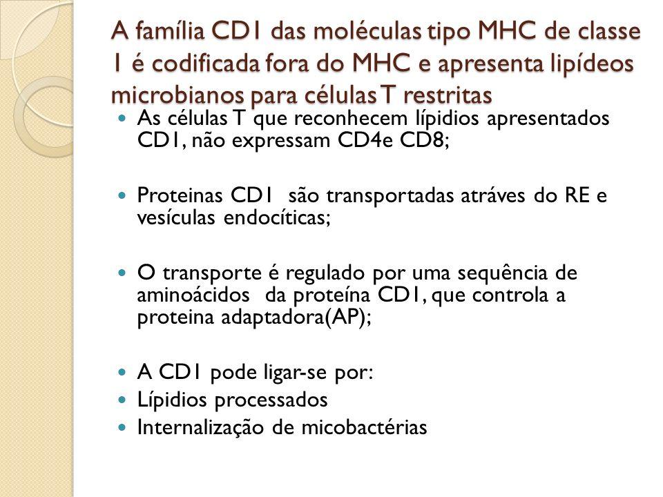 A família CD1 das moléculas tipo MHC de classe 1 é codificada fora do MHC e apresenta lipídeos microbianos para células T restritas