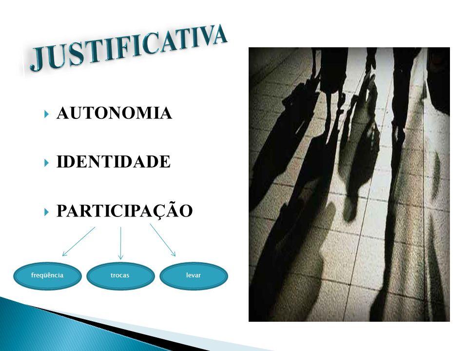 JUSTIFICATIVA AUTONOMIA IDENTIDADE PARTICIPAÇÃO freqüência trocas