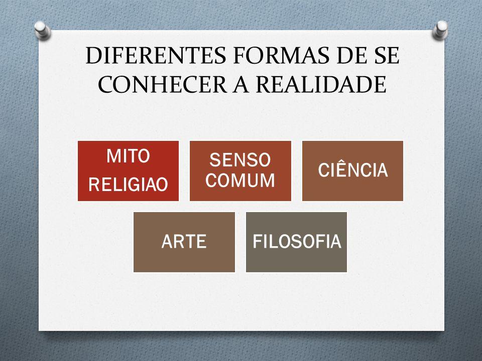 DIFERENTES FORMAS DE SE CONHECER A REALIDADE