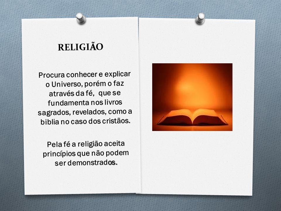 Pela fé a religião aceita princípios que não podem ser demonstrados.