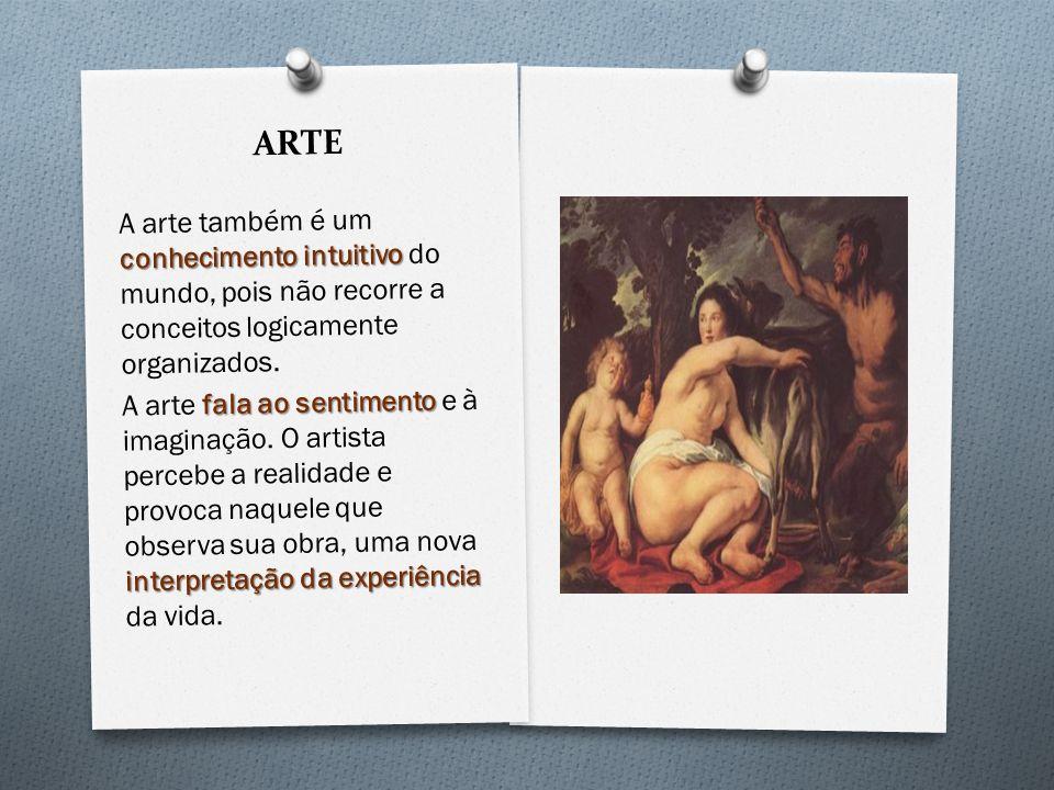 ARTE A arte também é um conhecimento intuitivo do mundo, pois não recorre a conceitos logicamente organizados.