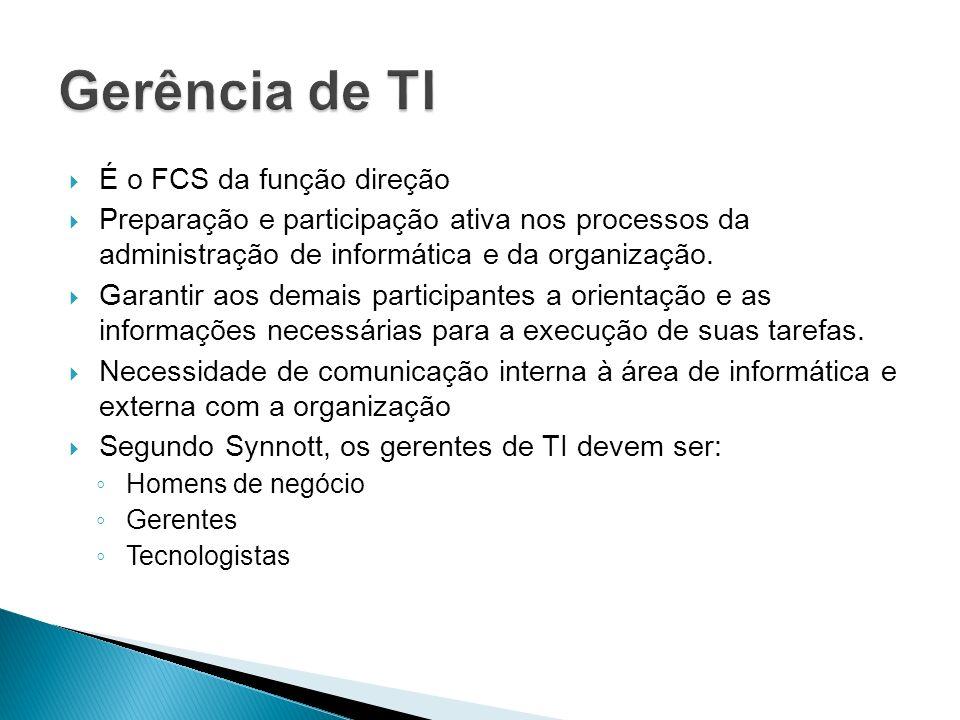 Gerência de TI É o FCS da função direção