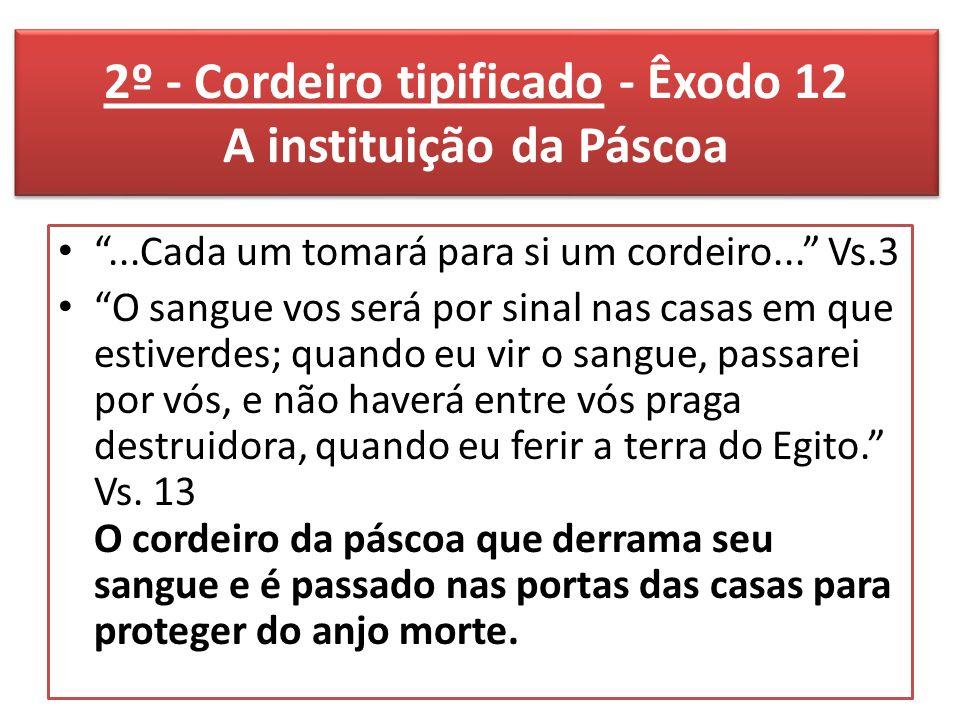 2º - Cordeiro tipificado - Êxodo 12 A instituição da Páscoa