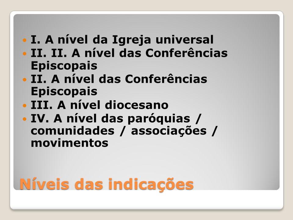 Níveis das indicações I. A nível da Igreja universal