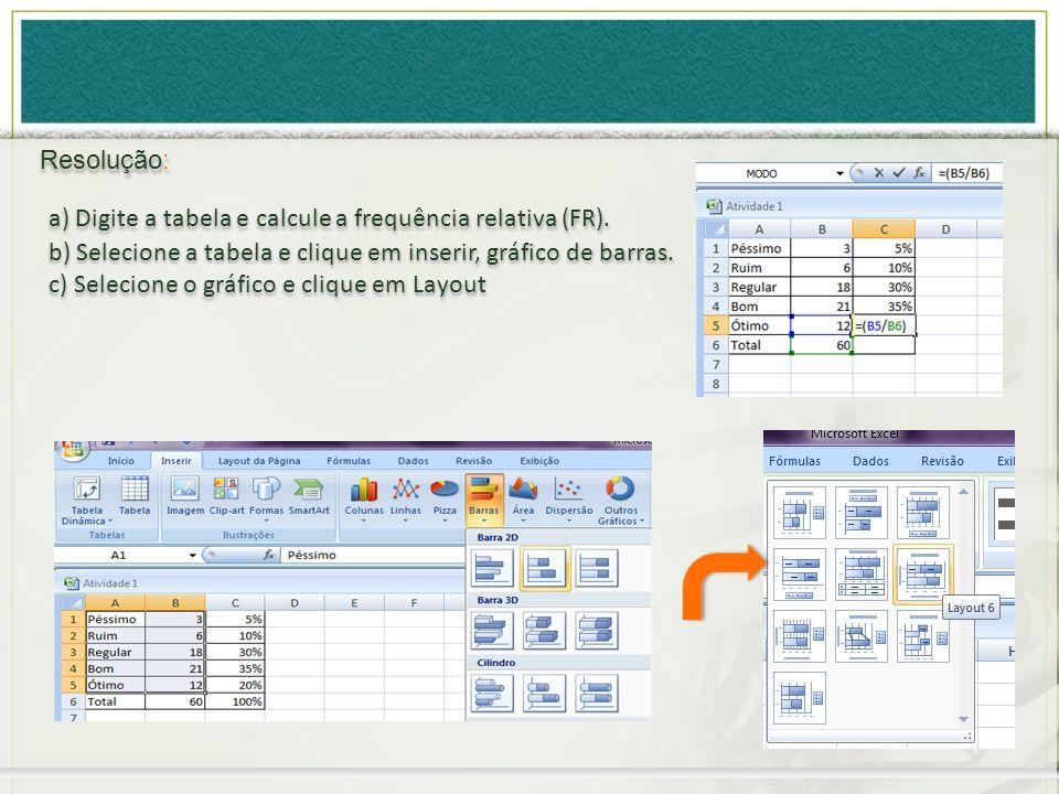 Resolução: a) Digite a tabela e calcule a frequência relativa (FR). b) Selecione a tabela e clique em inserir, gráfico de barras.