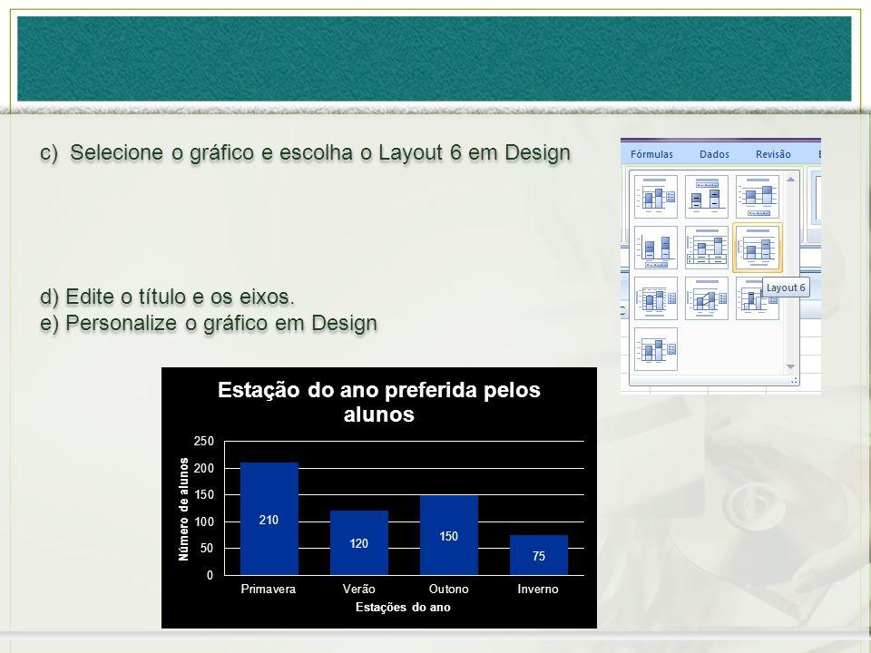 c) Selecione o gráfico e escolha o Layout 6 em Design