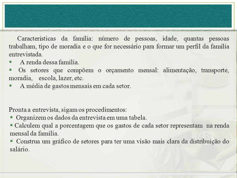 Características da família: número de pessoas, idade, quantas pessoas trabalham, tipo de moradia e o que for necessário para formar um perfil da família entrevistada.