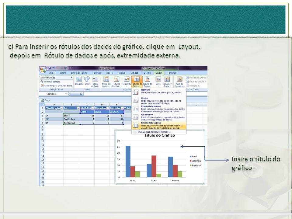 c) Para inserir os rótulos dos dados do gráfico, clique em Layout,
