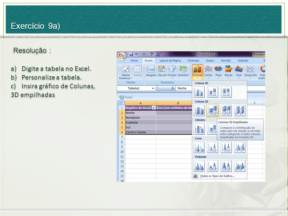 Exercício 9a) Resolução : Digite a tabela no Excel.