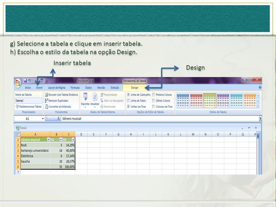 g) Selecione a tabela e clique em inserir tabela.