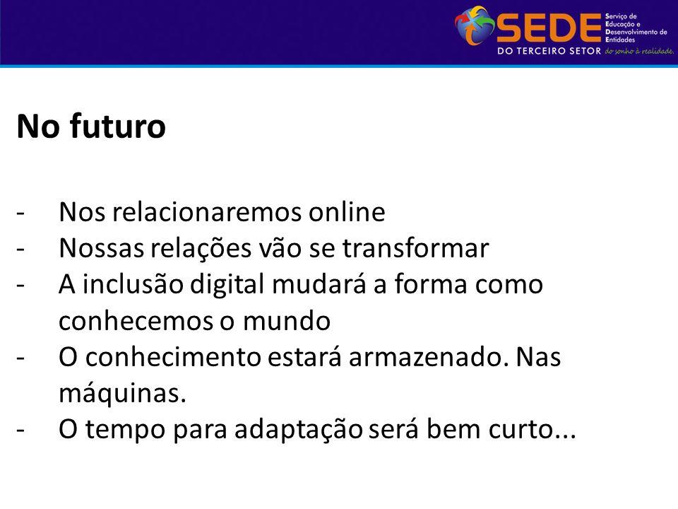 No futuro Nos relacionaremos online Nossas relações vão se transformar