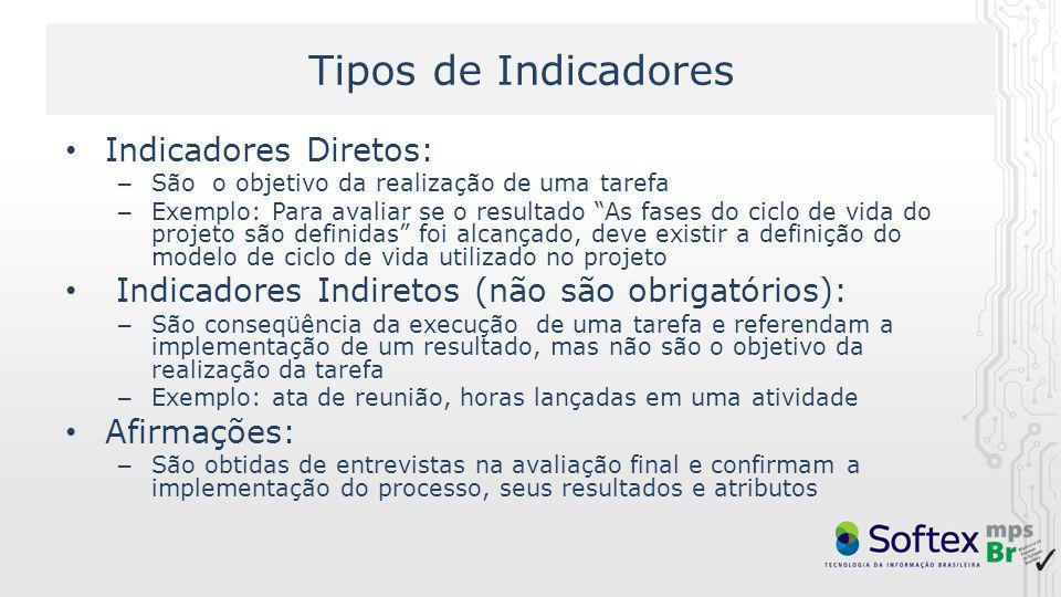 Tipos de Indicadores Indicadores Diretos: