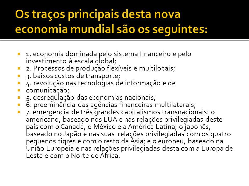Os traços principais desta nova economia mundial são os seguintes: