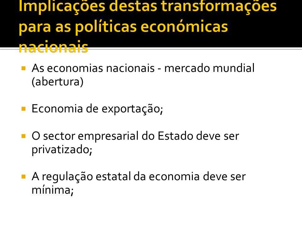 Implicações destas transformações para as políticas económicas nacionais