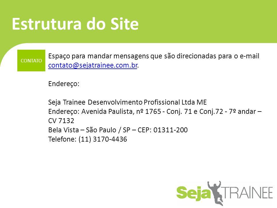Estrutura do Site CONTATO. Espaço para mandar mensagens que são direcionadas para o e-mail contato@sejatrainee.com.br.