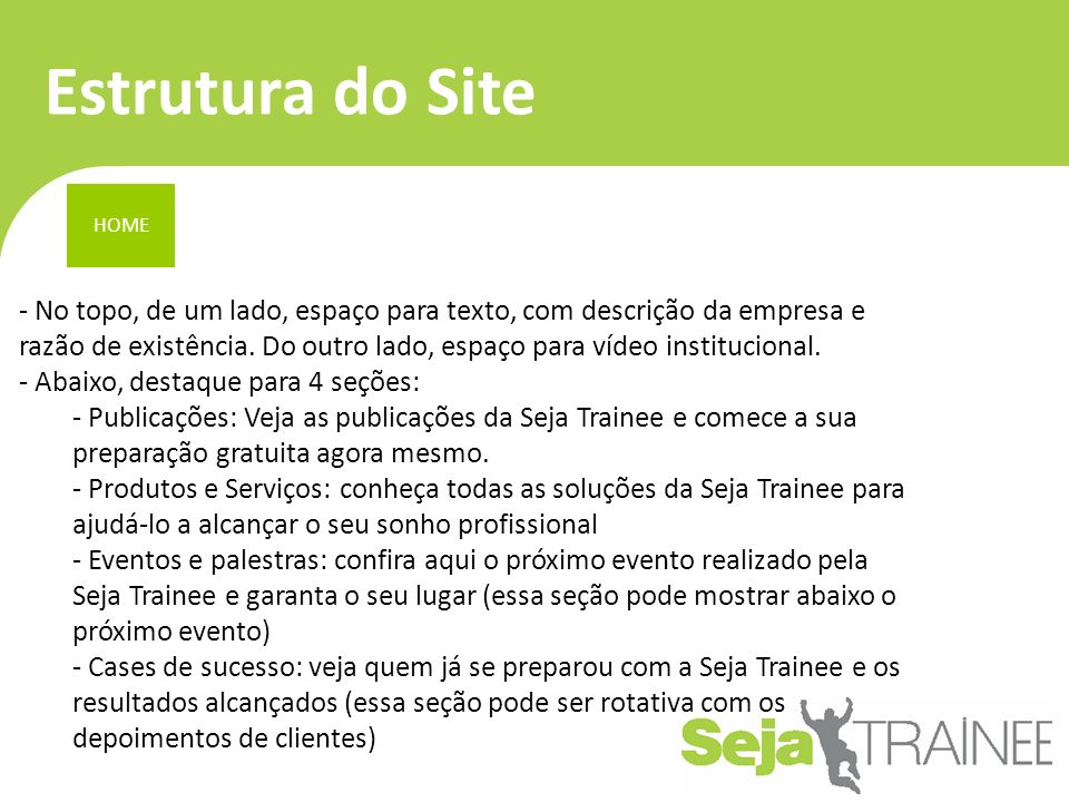 Estrutura do Site HOME.