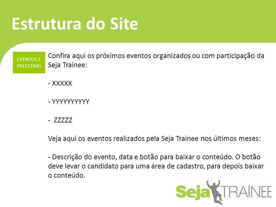 Estrutura do Site Confira aqui os próximos eventos organizados ou com participação da Seja Trainee: