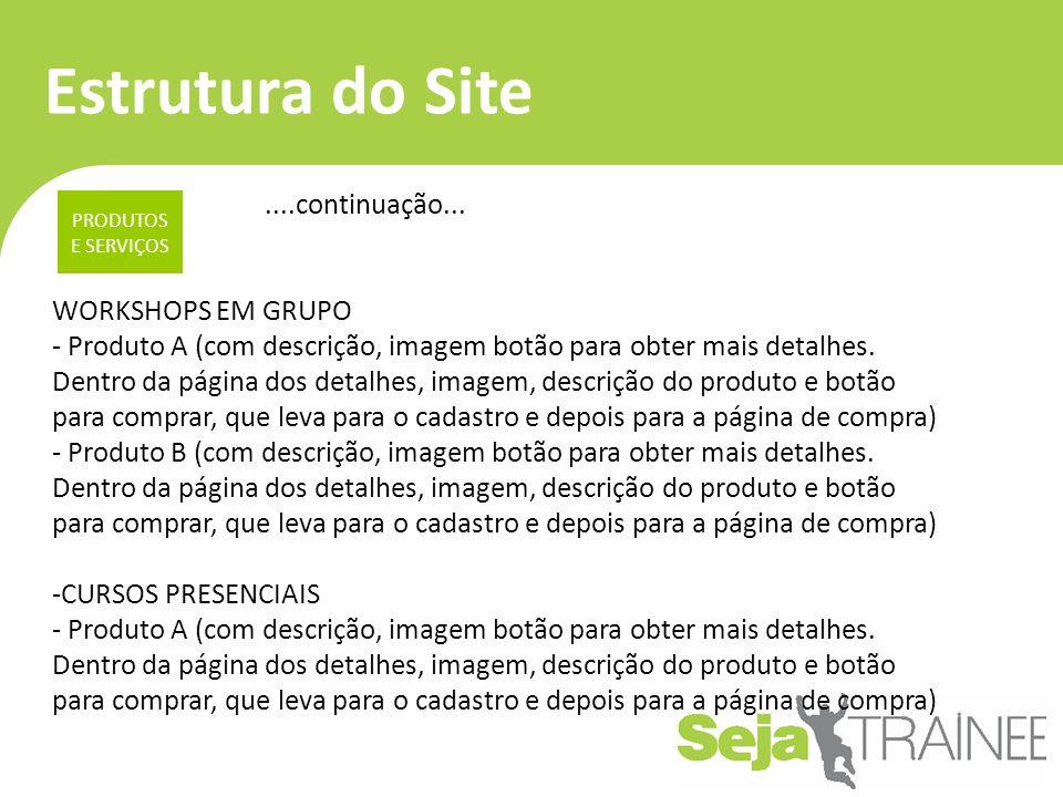 Estrutura do Site ....continuação... WORKSHOPS EM GRUPO