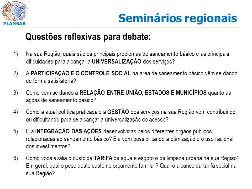 Seminários regionais Questões reflexivas para debate: