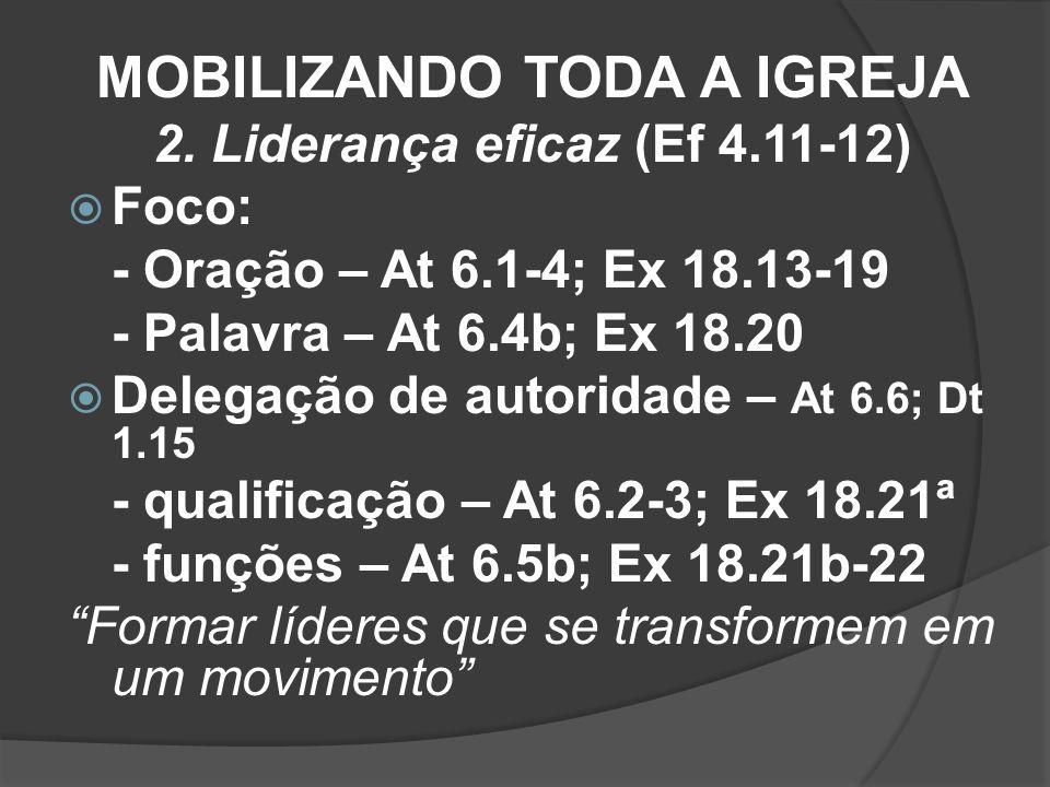MOBILIZANDO TODA A IGREJA 2. Liderança eficaz (Ef 4.11-12)