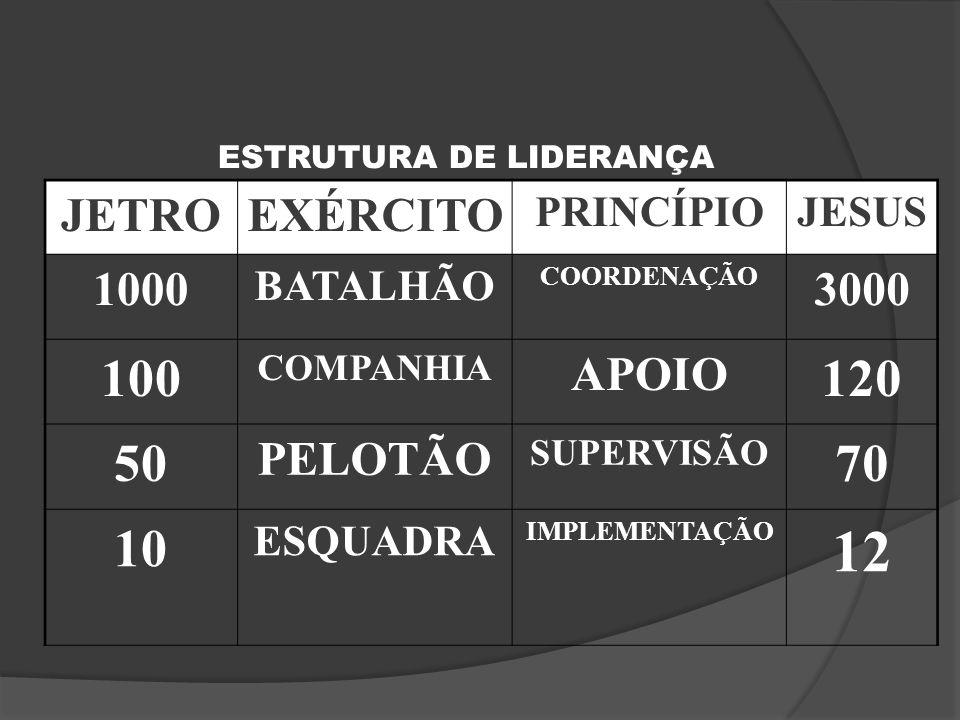 12 100 120 50 70 10 JETRO EXÉRCITO 1000 3000 APOIO PELOTÃO PRINCÍPIO