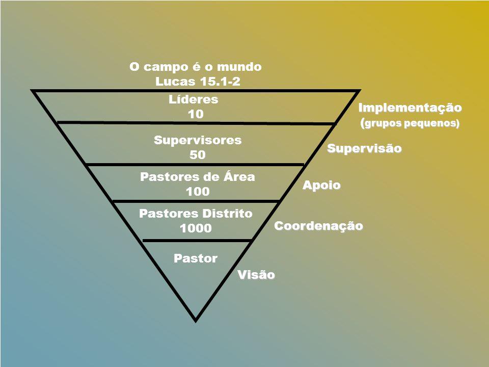 O campo é o mundo Lucas 15.1-2. Líderes. 10. Implementação. (grupos pequenos) Supervisores. 50.