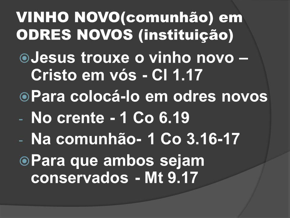 VINHO NOVO(comunhão) em ODRES NOVOS (instituição)