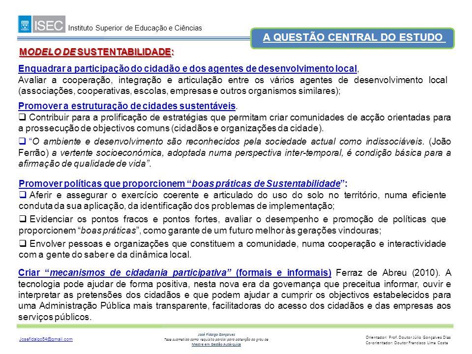 A QUESTÃO CENTRAL DO ESTUDO