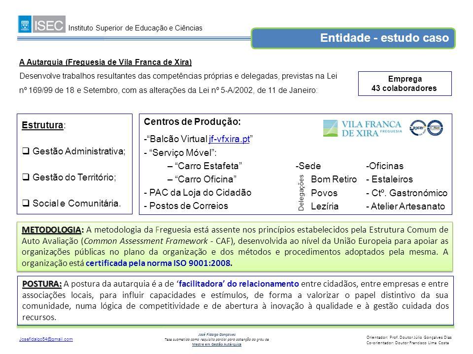 Entidade - estudo caso Estrutura: Gestão Administrativa;