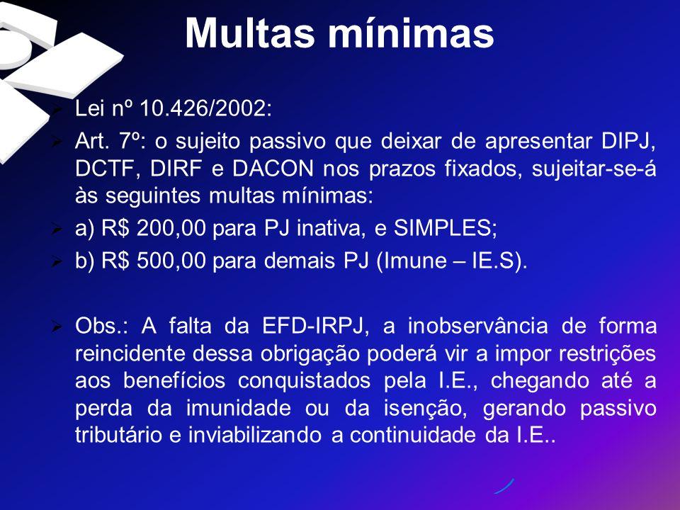 Multas mínimas Lei nº 10.426/2002: