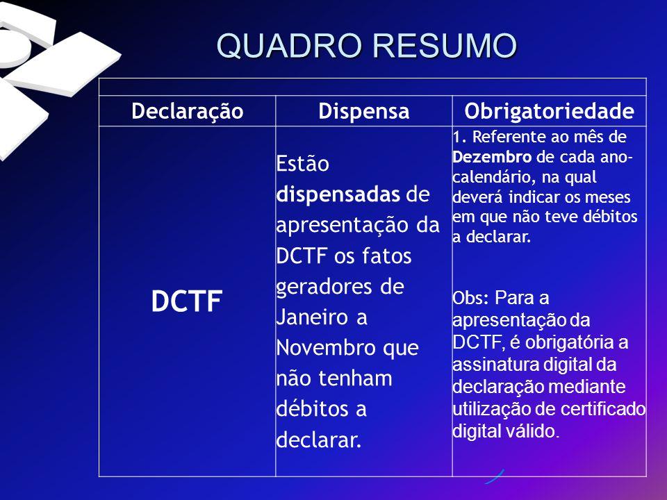 QUADRO RESUMO DCTF Declaração Dispensa Obrigatoriedade