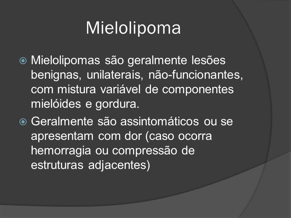 Mielolipoma Mielolipomas são geralmente lesões benignas, unilaterais, não-funcionantes, com mistura variável de componentes mielóides e gordura.