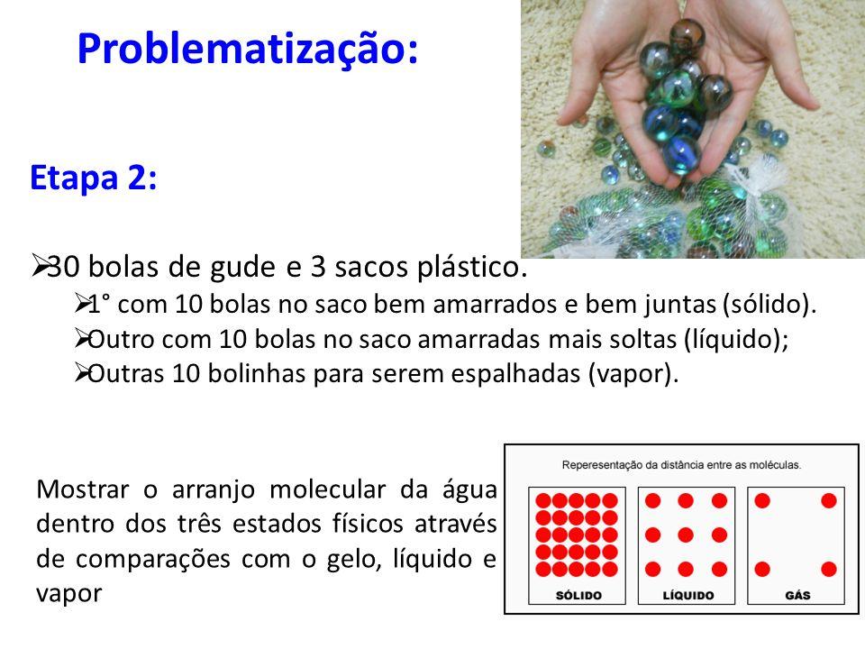 Problematização: Etapa 2: 30 bolas de gude e 3 sacos plástico.