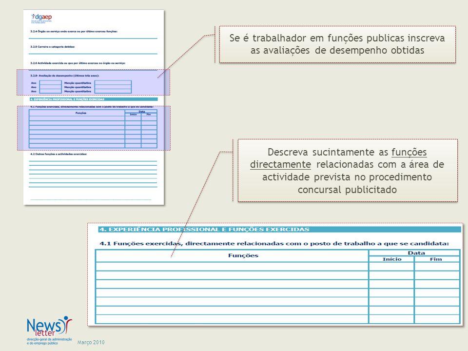 Se é trabalhador em funções publicas inscreva as avaliações de desempenho obtidas