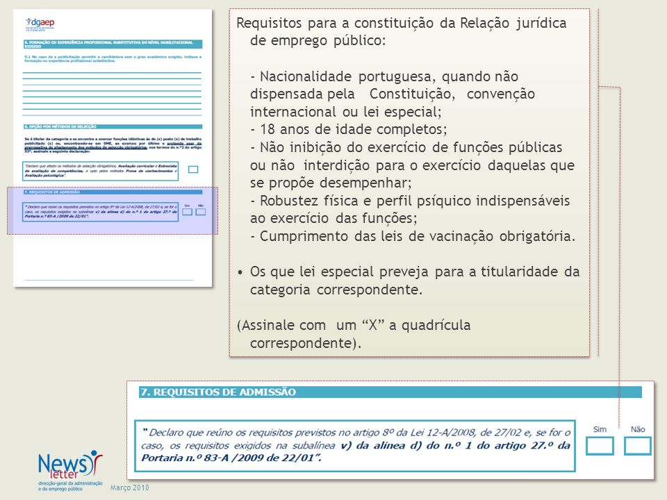 Requisitos para a constituição da Relação jurídica de emprego público: