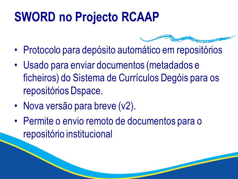 SWORD no Projecto RCAAP