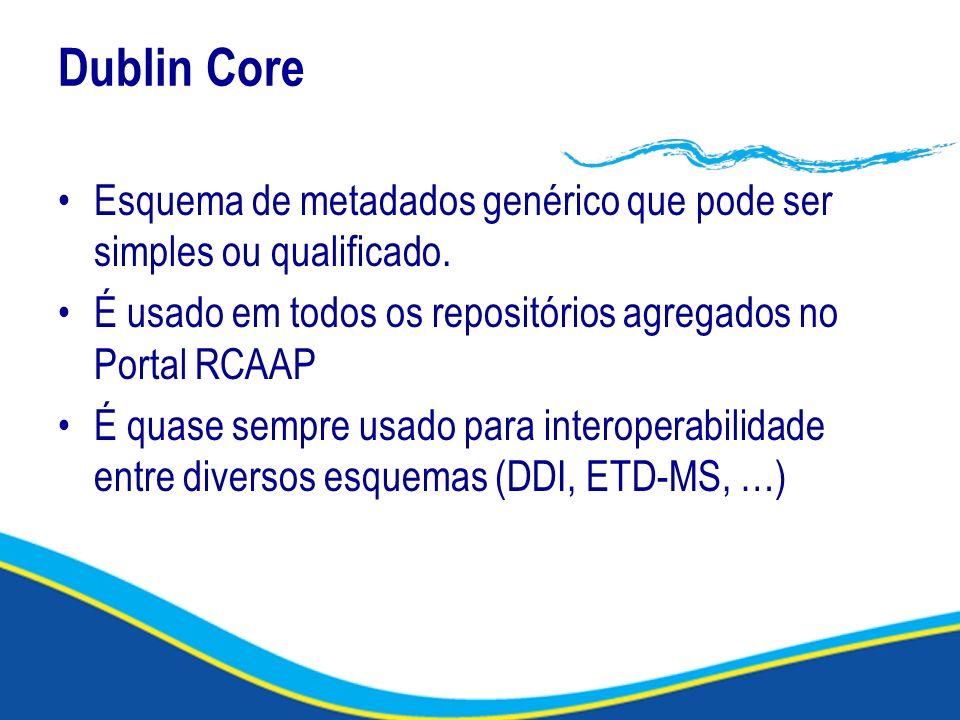 Dublin Core Esquema de metadados genérico que pode ser simples ou qualificado. É usado em todos os repositórios agregados no Portal RCAAP.
