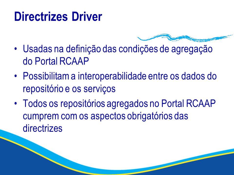 Directrizes Driver Usadas na definição das condições de agregação do Portal RCAAP.